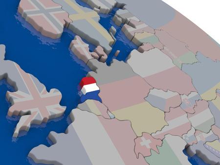 nederland: Netherlands with flag highlighted on model of globe. 3D illustration