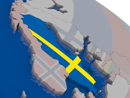 sverige: Sweden with flag highlighted on model of globe. 3D illustration