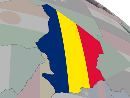 chadian: Chad with flag highlighted on model of globe. 3D illustration