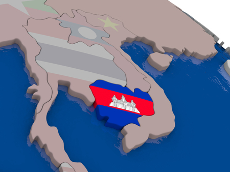 cambodian: Cambodia with flag highlighted on model of globe. 3D illustration