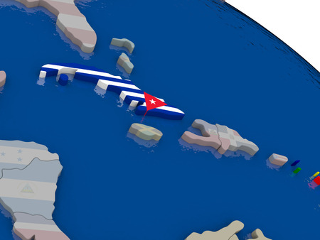 diplomacy: Cuba with flag highlighted on model of globe. 3D illustration Stock Photo