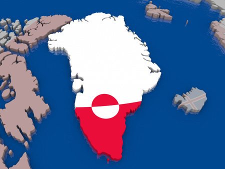 greenlandic: Greenland with flag highlighted on model of globe. 3D illustration