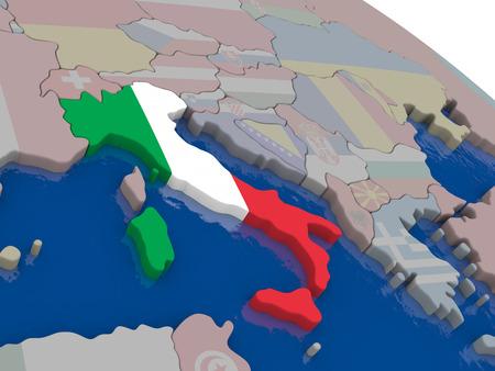 italian politics: Italy with flag highlighted on model of globe. 3D illustration Stock Photo