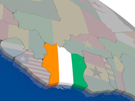 ivory: Ivory Coast with flag highlighted on model of globe. 3D illustration Stock Photo