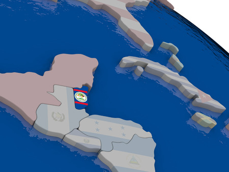 belize: Belize with flag highlighted on model of globe. 3D illustration
