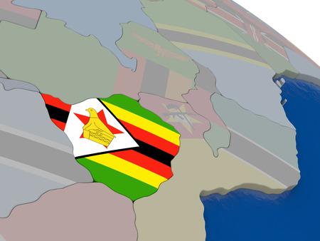 zimbabue: Zimbabwe con el indicador pone de relieve en el modelo del globo. ilustraci�n 3D Foto de archivo