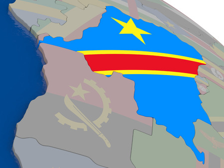 diplomacy: Democratic Republic of Congo with flag highlighted on model of globe. 3D illustration