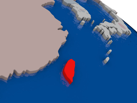 taiwanese: Taiwan with flag highlighted on model of globe. 3D illustration