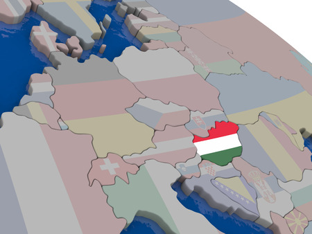 diplomacy: Hungary with flag highlighted on model of globe. 3D illustration