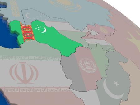 diplomacy: Turkmenistan with flag highlighted on model of globe. 3D illustration