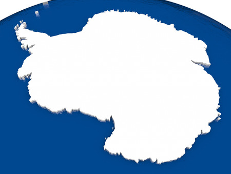antarctica: Antarctica with flag highlighted on model of globe. 3D illustration