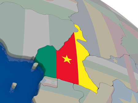 cameroonian: Cameroon with flag highlighted on model of globe. 3D illustration