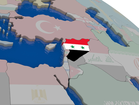diplomacy: Syria with flag highlighted on model of globe. 3D illustration