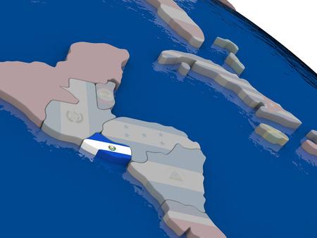 mapa de el salvador: El Salvador con el indicador pone de relieve en el modelo del globo. ilustraci�n 3D