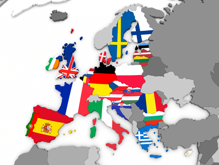 Map of European Union before Brexit with flags of member states. 3D illustration .