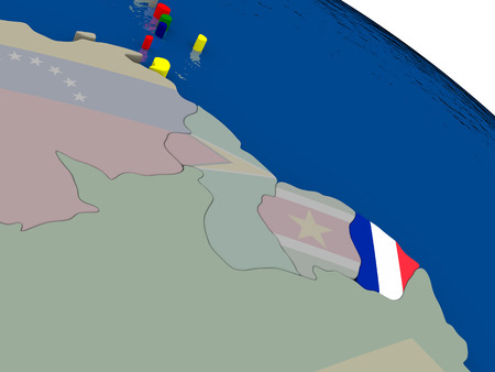 french guiana: French Guiana with flag highlighted on model of globe. 3D illustration Stock Photo