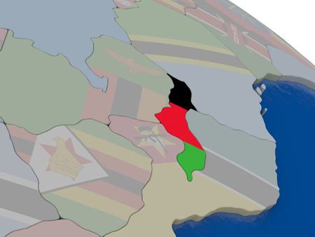 malawian flag: Malawi with flag highlighted on model of globe. 3D illustration