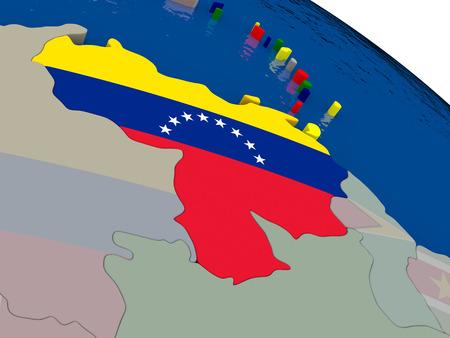 diplomacy: Venezuela with flag highlighted on model of globe. 3D illustration Stock Photo
