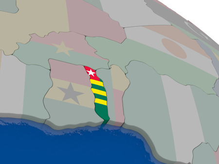 togo: Togo with flag highlighted on model of globe. 3D illustration