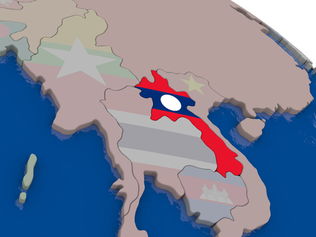 diplomacy: Laos with flag highlighted on model of globe. 3D illustration