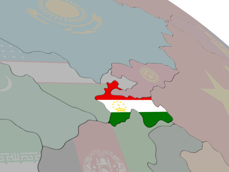 diplomacy: Tajikistan with flag highlighted on model of globe. 3D illustration