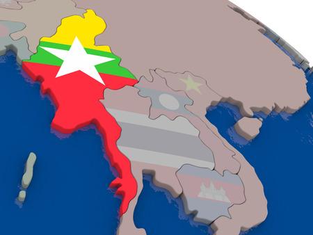 burmese: Myanmar with flag highlighted on model of globe. 3D illustration