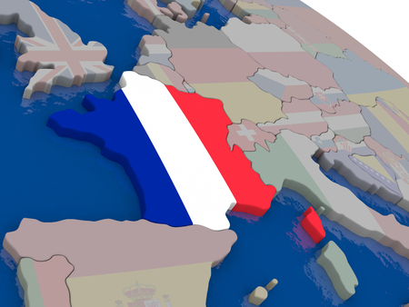 francaise: France with flag highlighted on model of globe. 3D illustration