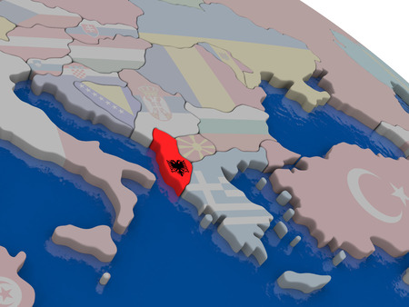 diplomacy: Albania with flag highlighted on model of globe. 3D illustration
