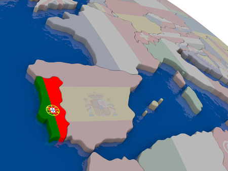diplomacy: Portugal with flag highlighted on model of globe. 3D illustration