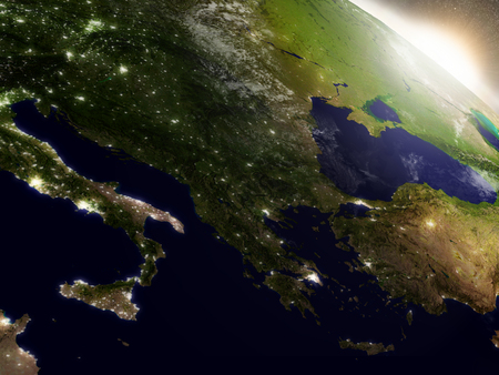 city lights: Greece with surrounding region during sunrise as seen from Earths orbit in space. 3D illustration with highly detailed realistic planet surface, clouds and city lights. Stock Photo