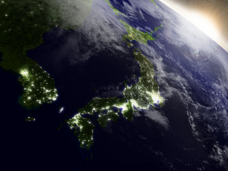 shikoku: Japan with surrounding region during sunrise as seen from Earths orbit in space. 3D illustration with highly detailed realistic planet surface, clouds and city lights. Stock Photo