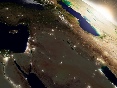 city lights: Israel, Lebanon, Jordan, Syria and Iraq region during sunrise with surrounding region during sunrise as seen from Earths orbit in space. 3D illustration with highly detailed realistic planet surface, clouds and city lights.