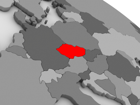 highlighted: Czech republic highlighted in red on model of globe. 3D illustration
