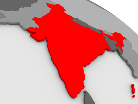 highlighted: India highlighted in red on model of globe. 3D illustration Stock Photo