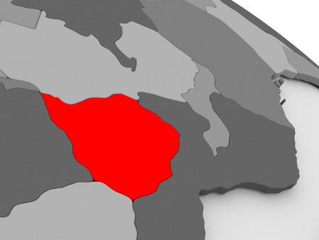 zimbabwe: Zimbabwe highlighted in red on model of globe. 3D illustration Stock Photo