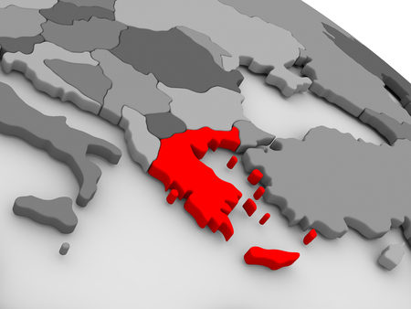 hellenic: Greece highlighted in red on model of globe. 3D illustration