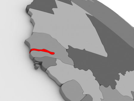gambia: Gambia highlighted in red on model of globe. 3D illustration