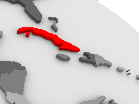 highlighted: Cuba highlighted in red on model of globe. 3D illustration