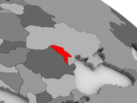 moldova: Moldova highlighted in red on model of globe. 3D illustration