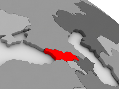 highlighted: Georgia highlighted in red on model of globe. 3D illustration