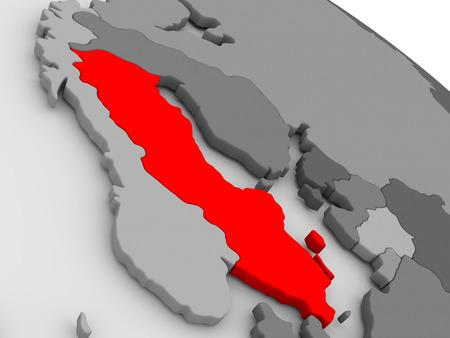 sverige: Sweden highlighted in red on model of globe. 3D illustration Stock Photo