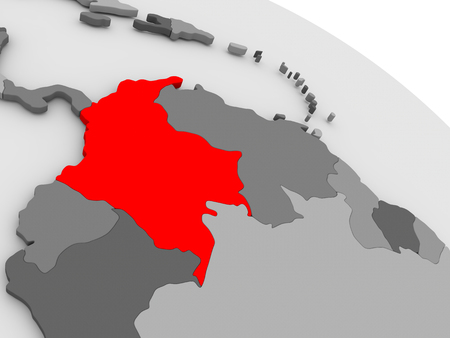 highlighted: Colombia highlighted in red on model of globe. 3D illustration