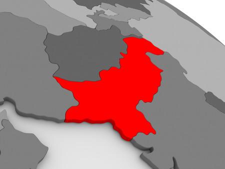 pakistani pakistan: Pakistan highlighted in red on model of globe. 3D illustration