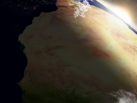 city lights: Mauritania with surrounding region during sunrise as seen from Earths orbit in space. 3D illustration with highly detailed realistic planet surface, clouds and city lights. Stock Photo