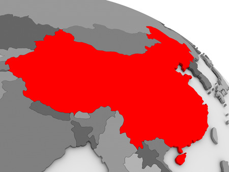 diplomacy: China highlighted in red on model of globe. 3D illustration