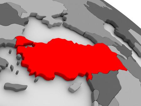turkiye: Turkey highlighted in red on model of globe. 3D illustration Stock Photo