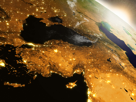 anatolian: Turkey with surrounding region during sunrise as seen from Earths orbit in space. 3D illustration with highly detailed realistic planet surface, clouds and city lights.