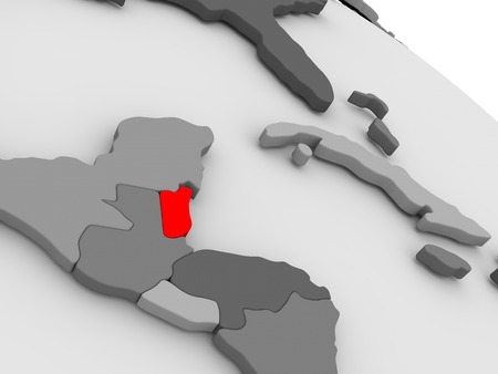 highlighted: Belize highlighted in red on model of globe. 3D illustration