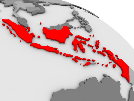 highlighted: Indonesia highlighted in red on model of globe. 3D illustration Stock Photo