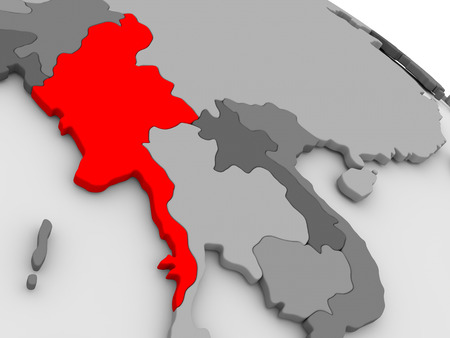 burmese: Myanmar highlighted in red on model of globe. 3D illustration Stock Photo